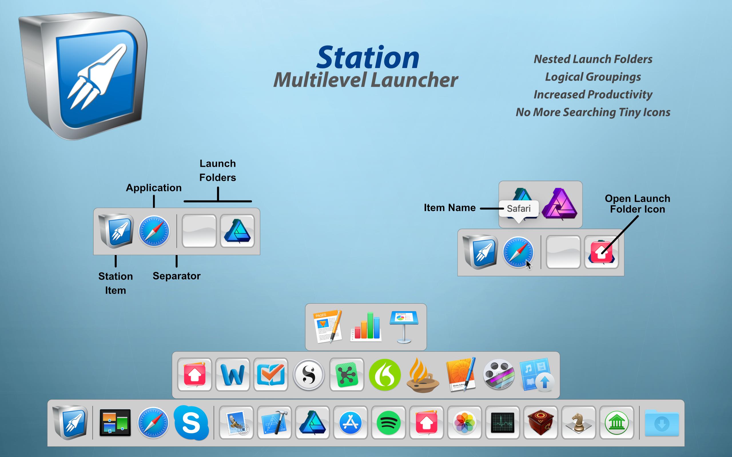 Station 2.0 - Multilevel Dock for macOS Image