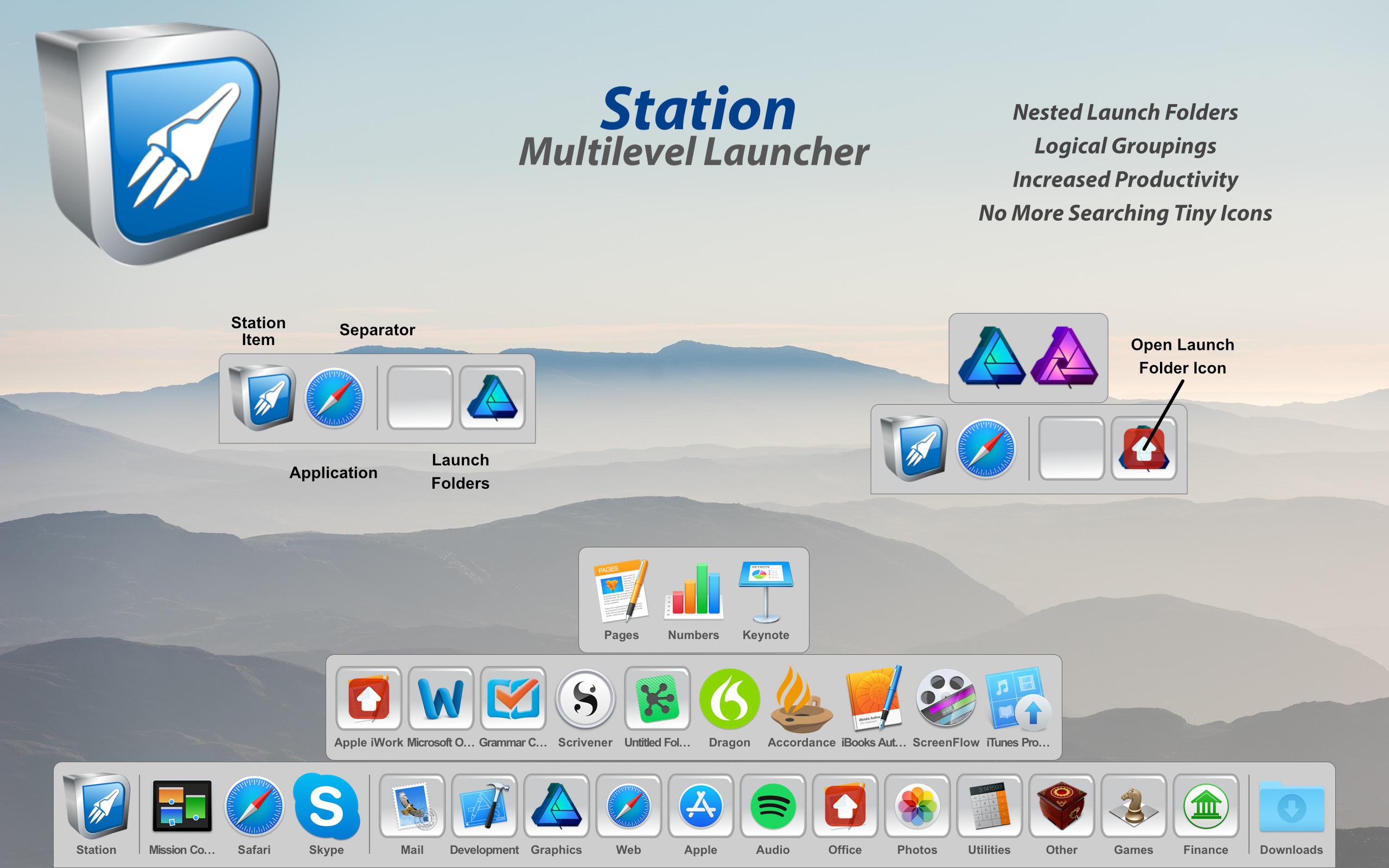 Station 3.0 - Multilevel Dock for macOS Image
